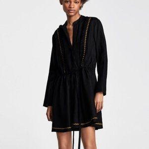 Zara Black Linen Tunic Dress